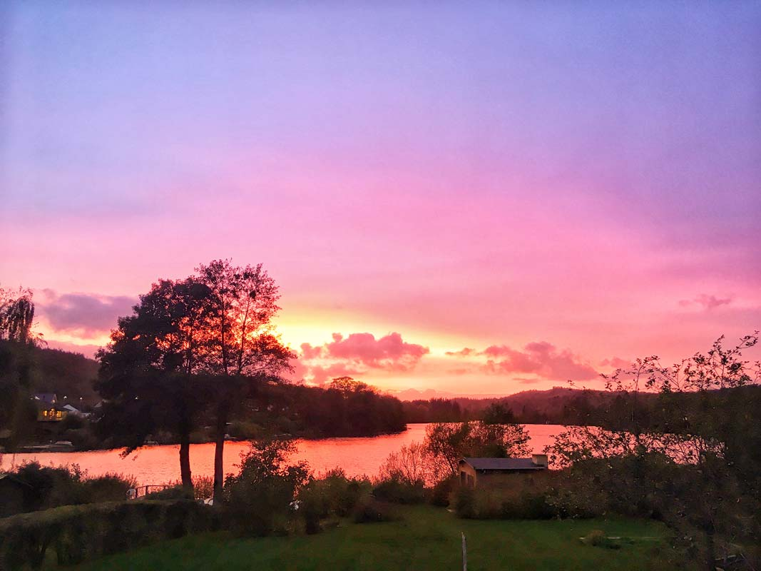 Smuk solnedgang over Thorsø i Virklund